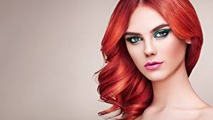 Images Redhead girl Hair Face Makeup Beautiful Gray background Glance Oleg Gekman female
