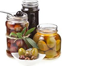 Fotos Oliven Weißer hintergrund Weckglas Drei 3 Lebensmittel