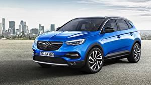 Fotos Opel Blau Crossover Metallisch Grandland X, Turbo, 2017