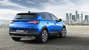 Fotos Opel Blau Crossover Metallisch Hinten Grandland X, Turbo, 2017 Autos