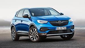 Hintergrundbilder Opel Blau Vorne Softroader Grandland X, Turbo, 2017 auto