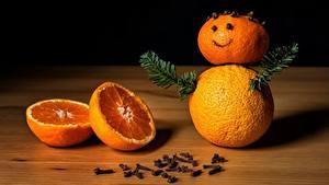 Fotos Orange Frucht Neujahr Ast Schneemänner Lebensmittel