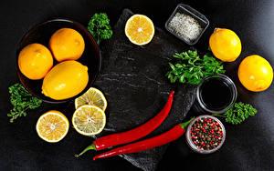 Wallpaper Orange fruit Lemons Chili pepper Black pepper Vegetables Salt Food