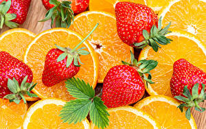 Fotos Apfelsine Erdbeeren Großansicht