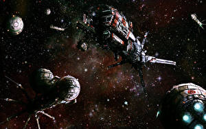 Picture Orbital stations Ship Fantasy Space