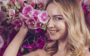 Bilder Orchidee Blondine Lächeln Starren Haar