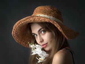 Fotos Orchidee Grauer Hintergrund Braunhaarige Der Hut Starren junge frau