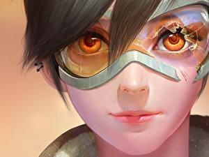 Bilder Overwatch Gesicht Brille Starren Tracer Mädchens Fantasy