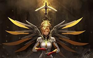 Hintergrundbilder Overwatch Krieger mercy Mädchens Fantasy