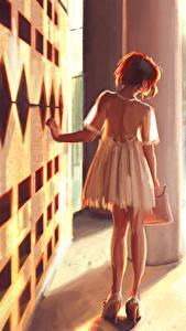 Bilder Gezeichnet Hinten Kleid Mädchens