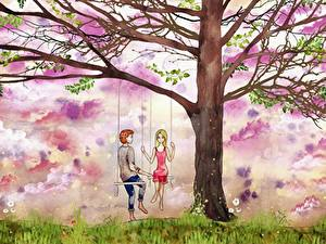 Fotos Gezeichnet Paare in der Liebe Bäume Schaukel Junger Mann Mädchens