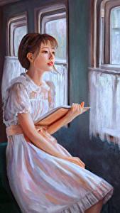 Hintergrundbilder Gezeichnet Kleid Buch junge Frauen
