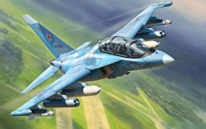 Bilder Gezeichnet Flugzeuge Jagdflugzeug Russische Yak-130 Luftfahrt