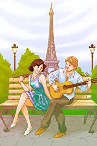 Fotos Gezeichnet Frankreich Mann Paris Eiffelturm Gitarre Zwei Mädchens