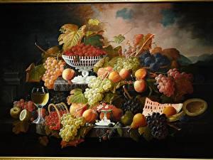 Fondos de Pantalla Dibujado Pintura Frutas Uvas Follaje Severin Roesen