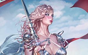 Fotos Gezeichnet Krieger Schwert Blondine Haar Schön KyuYong Eom Fantasy Mädchens