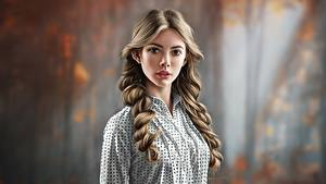 Fotos Gezeichnet Haar Frisuren Blick Unscharfer Hintergrund by Jinsung Lim junge frau