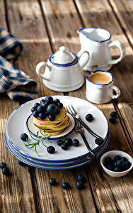 Images Pancake Blueberries Coffee Boards Plate Cup Food