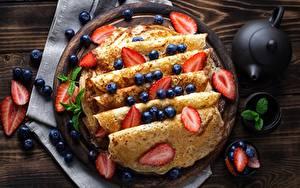 Wallpaper Pancake Strawberry Berry Blueberries Food