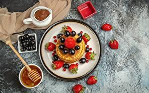 Image Hotcake Strawberry Grapes Chocolate Honey Food
