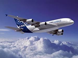 Bilder Flugzeuge Verkehrsflugzeug Airbus Wolke Flug A320 Luftfahrt