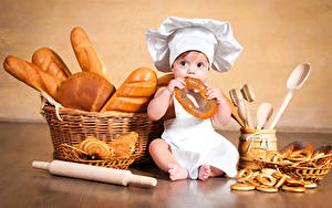 Wallpaper Pastry Bread Buns Sitting Boys Infants Winter hat Wicker basket Cooks Children