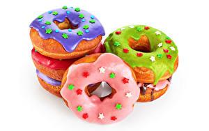 Hintergrundbilder Backware Donut Zuckerguss Weißer hintergrund