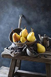 Hintergrundbilder Birnen Heidelbeeren Stillleben das Essen