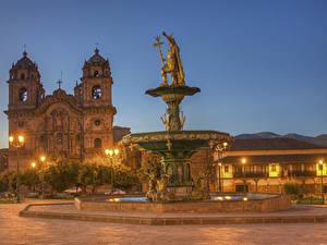 Hintergrundbilder Peru Gebäude Tempel Springbrunnen Skulpturen Kirche HDRI Nacht Straßenlaterne Cusco