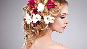 Fotos Petunien Grauer Hintergrund Blond Mädchen Haar Frisur