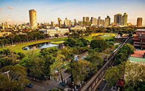 Hintergrundbilder Philippinen Gebäude Parks Stadtstraße Bäume Von oben Manila, Intramuros