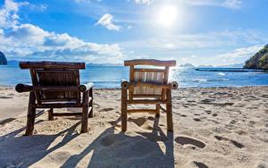Bilder Philippinen Tropen Küste Himmel Meer Sessel Sand Strand Sonne