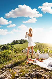 Fotos Picknick Gras Blondine Der Hut Kleid Wolke Weinglas Erholung