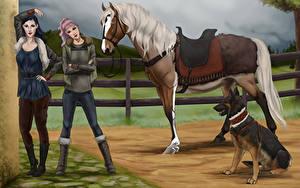 Bilder Malerei Pferde Shepherd Mädchens