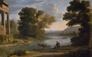 Hintergrundbilder Malerei Landschaftsfotografie Claude Lorrain, Landscape with Cowherd (Evening)