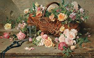 Bilder Gemälde Stillleben Weidenkorb French painter, Francois Adolphe, Still life of roses with basket Blüte