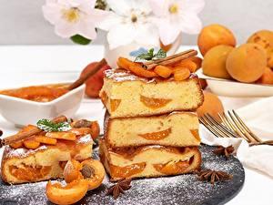 Fotos Obstkuchen Aprikose Stück das Essen