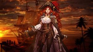 Hintergrundbilder Piraten Rotschopf Schön Der Hut by Muel Kim, Jetty Fantasy Mädchens
