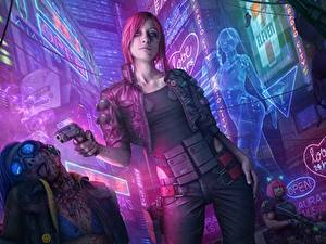 Bilder Pistolen Cyberpunk 2077 Rotschopf Mädchens