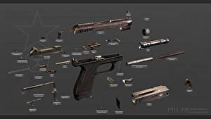 Fotos Pistole Russische GSh-18, Fully disassembled Militär