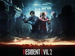 Hintergrundbilder Pistolen Zombie Resident Evil 2 2019 Polizei Leon Kennedy, Claire Redfied Mädchens