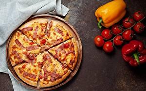 Hintergrundbilder Pizza Schinken Tomate Paprika Stücke Lebensmittel