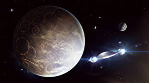 Wallpapers Planets Ships Fantasy Space 3D_Graphics