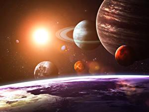 Fotos Planeten Erde Sonne solar system as seen from Earth Weltraum 3D-Grafik