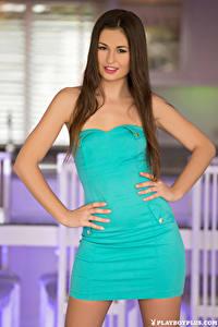Hintergrundbilder Playboy Demi Fray Pose Kleid Hand Braunhaarige Mädchens