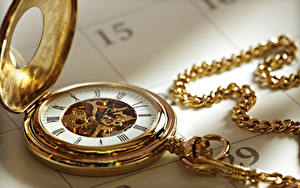 Images Pocket watch Clock Gold color Mechanism