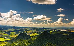 Bilder Polen Himmel Gebirge Felder Wald Wolke Pieniny