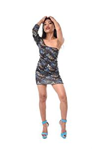Hintergrundbilder Polly Pons Asiatische Brünette Posiert Hand Kleid Bein High Heels Mädchens