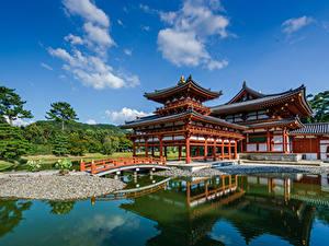 Hintergrundbilder Teich Himmel Pagoden Tempel Japan Kansai, Byodo-in, Uji Natur
