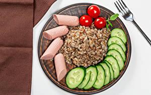 Fotos Brei Frankfurter Würstel Tomaten Gurke Buchweizen Das Essen
